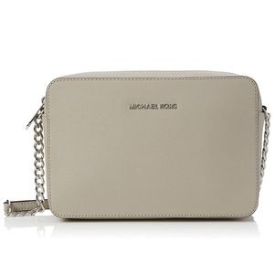 Michael Kors Silver and beige/nude crossbody purse